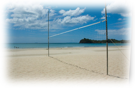 Volleyball net on Khlong Dao beach, Koh Lanta
